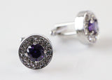 Mens Silver Circular Purple Diamond Cufflinks