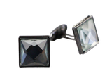 Mens Silver Square Diamond Cufflinks