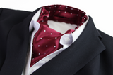 Mens Maroon & White Small Polka Dot Cravat