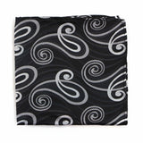 Mens Black, Silver & Grey Swirl Silk Pocket Square