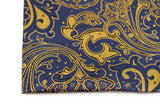 Mens Navy & Apriocot Boho Paisley Silk Pocket Square