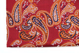 Mens Red & Orange Paisley Silk Pocket Square