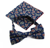 Mens Navy, Red, White, Yellow & Blue Paisley Cotton Bow Tie & Pocket Square Set