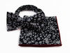 Mens Black & White Floral Cotton Bow Tie & Pocket Square Set