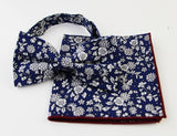Mens Navy with White Flowers Cotton Bow Tie & Pocket Square Set