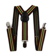 Boys Adjustable Black, Red & Lime Green Striped Patterned Suspenders