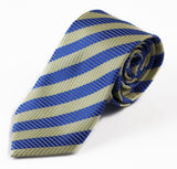 Mens Light Blue & Lemon Striped Elegant Patterned 8cm Neck Tie