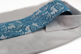 Mens Light Blue & Sky Blue Paisley Patterned Neck Tie