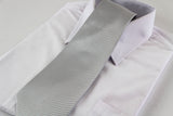 Mens Silver & White Striped 10cm Neck Tie
