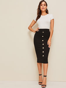 Pearls Button Detail Pencil Skirt Color: Black Style: Elegant Pattern Type: Plain Length: Midi Type: Pencil Details: Pearls, Button, Rib-Knit Season: Spring/Summer/Fall Composition: 5% Spandex, 95% Polyester Waist Line: Natural Fabric: Slight Stretch Arabian Clothing: Yes