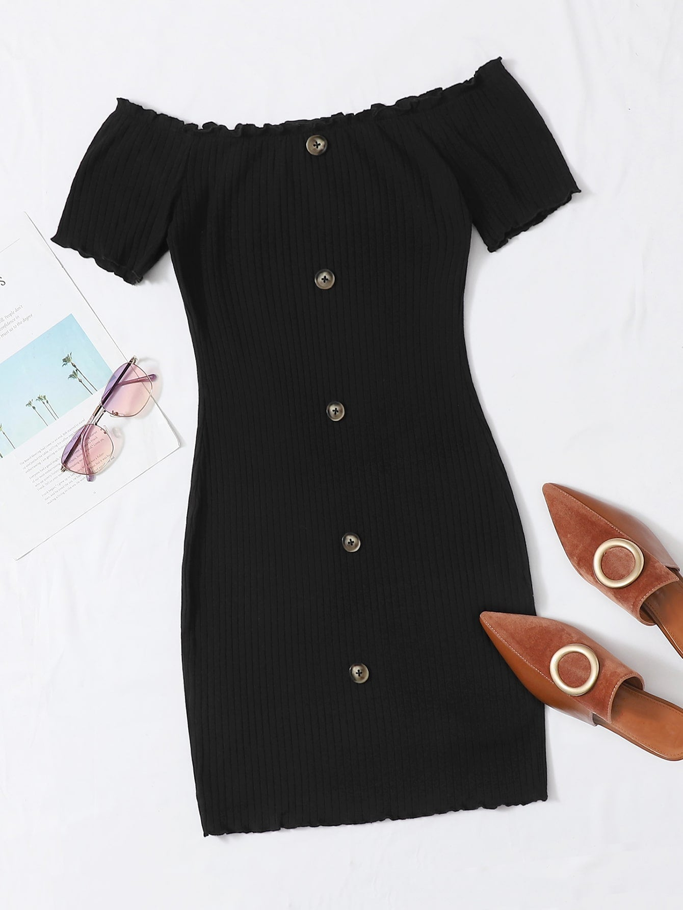 Off Shoulder Button Front Lettuce Edge Dress
