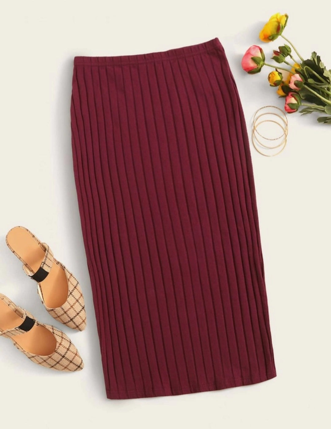 Elastic Waist Rib-knit Pencil Skirt| Pencil Skirt| Cotton| Midi Skirt| Elegant Skirt| High Waist Skirt