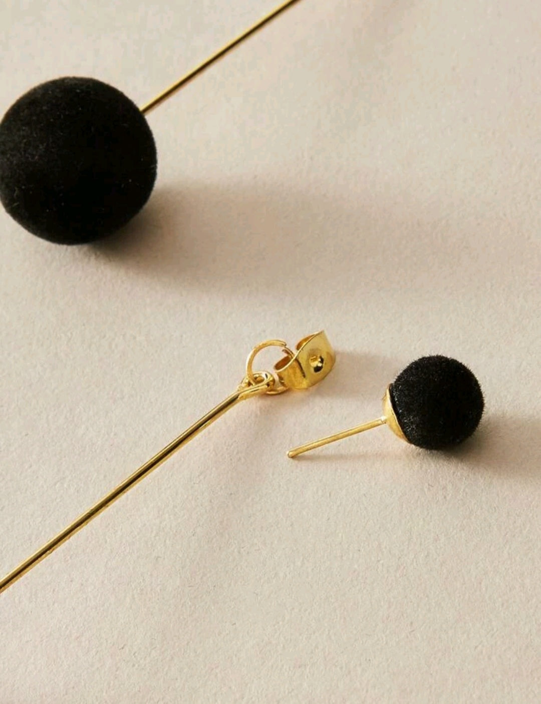 1pair Round Ball Decor Earring Jackets