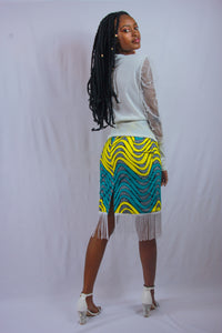 Keila Pencil Skirt with Fringe Detail