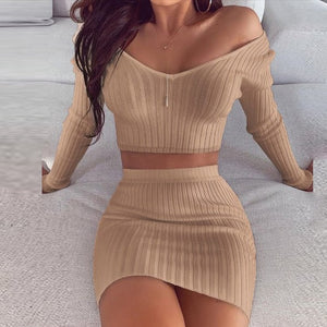 Striped V Neck Slim Knit Soft Dress & 2 PC Outfit