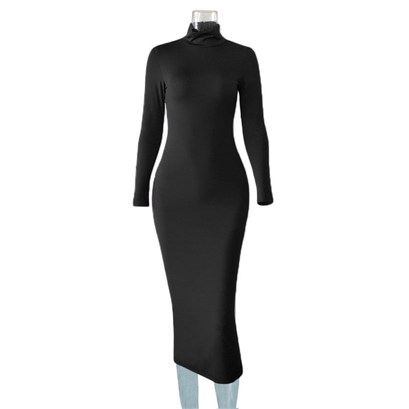 Women Turtleneck Long Bodycon Dress