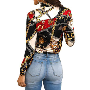 Tie Neck Chain Print Blouse