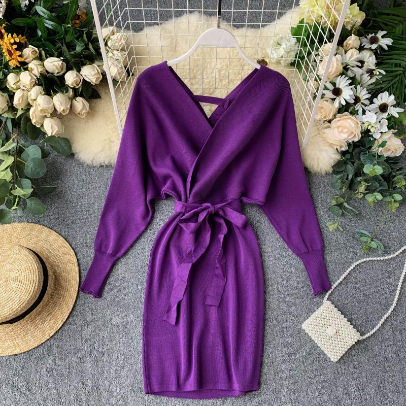 Women V Neck Knitted Sweater Dress