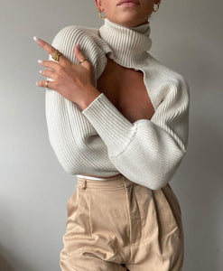 Turtleneck Raglan Sleeve Crop Sweater ONE SIZE