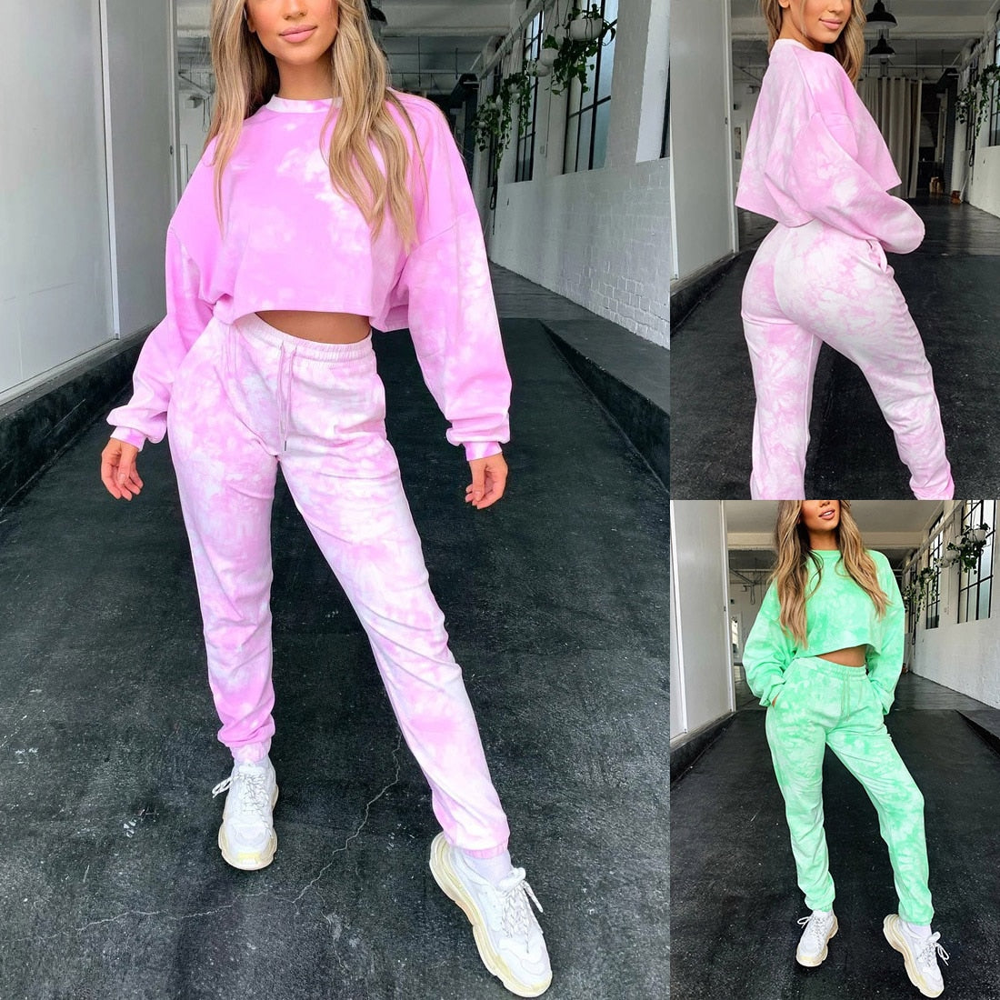 Tie Dye Drop Shoulder Drawstring Sweatshirt & Sweatpants Set