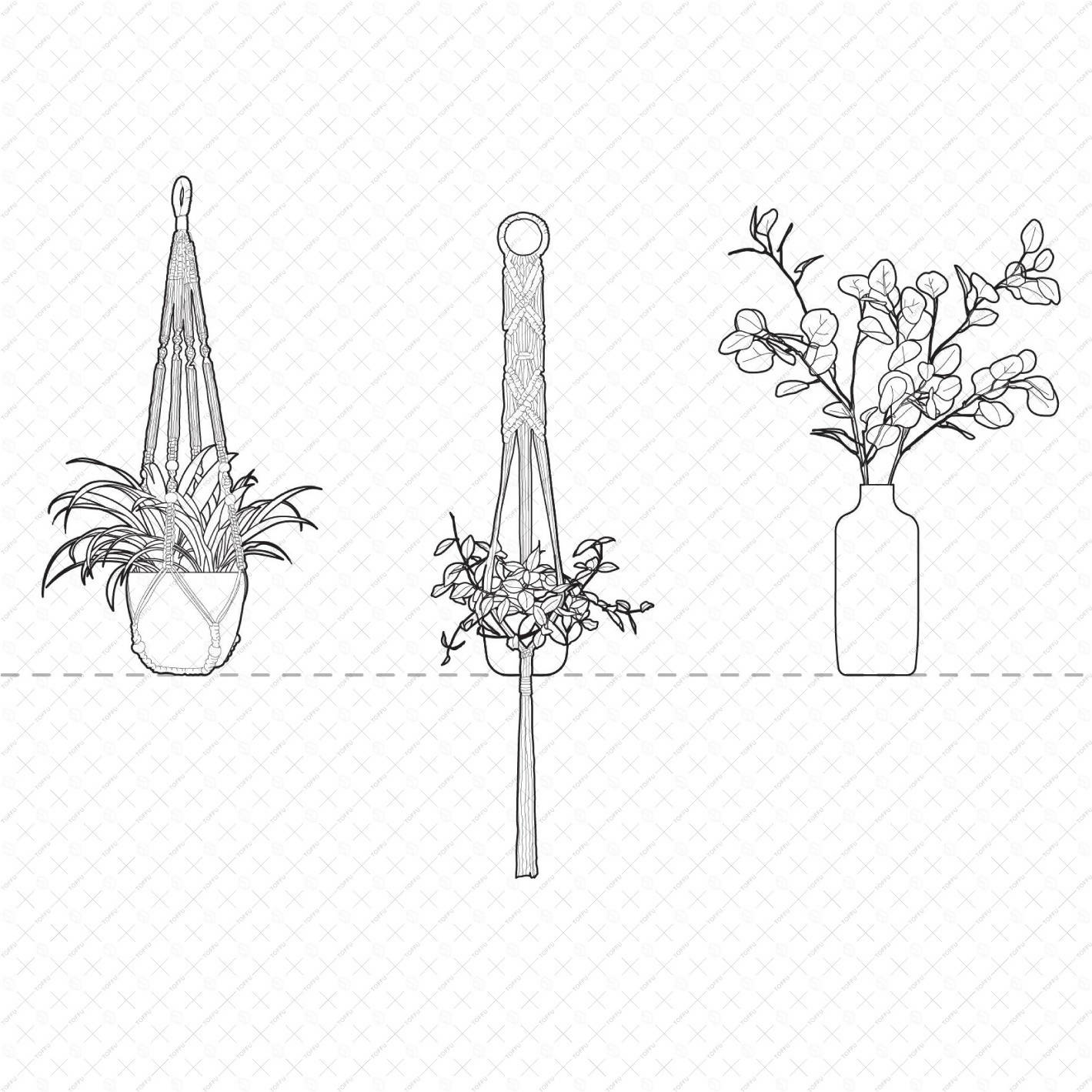 Cad Interior Potted Plants DWG | Toffu Co