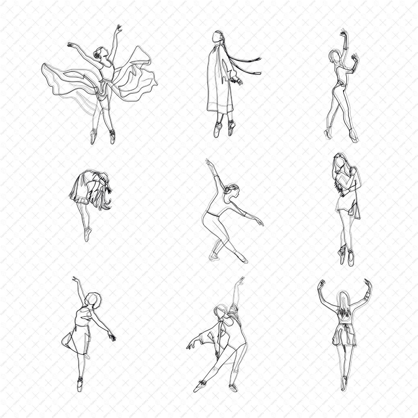 Flat Vector Ballet Dancers no.1 PNG - Toffu Co