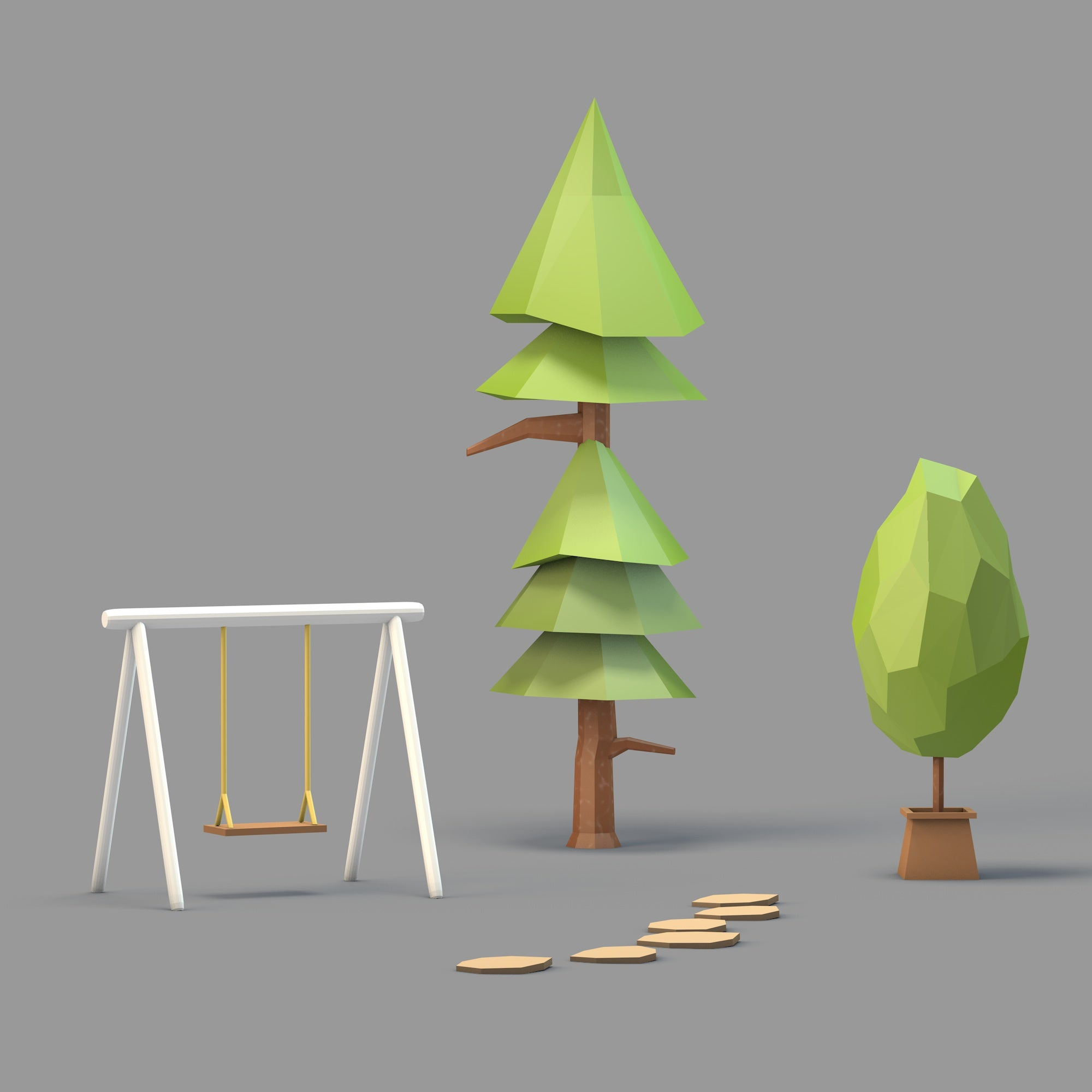 3D Model Low-Poly Home Garden - Toffu Co