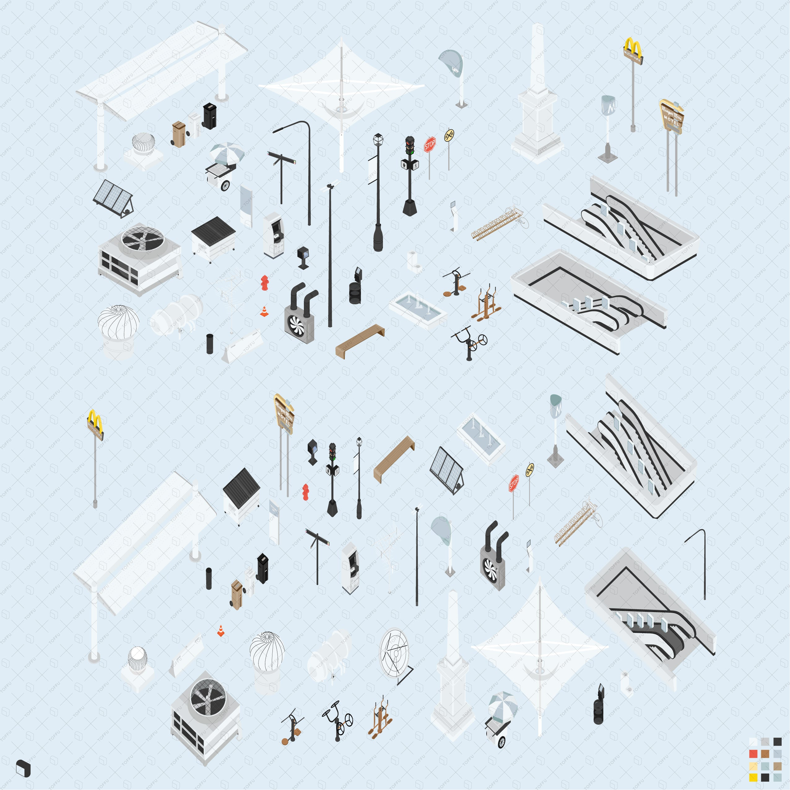 city furniture axonometric vector drawings
