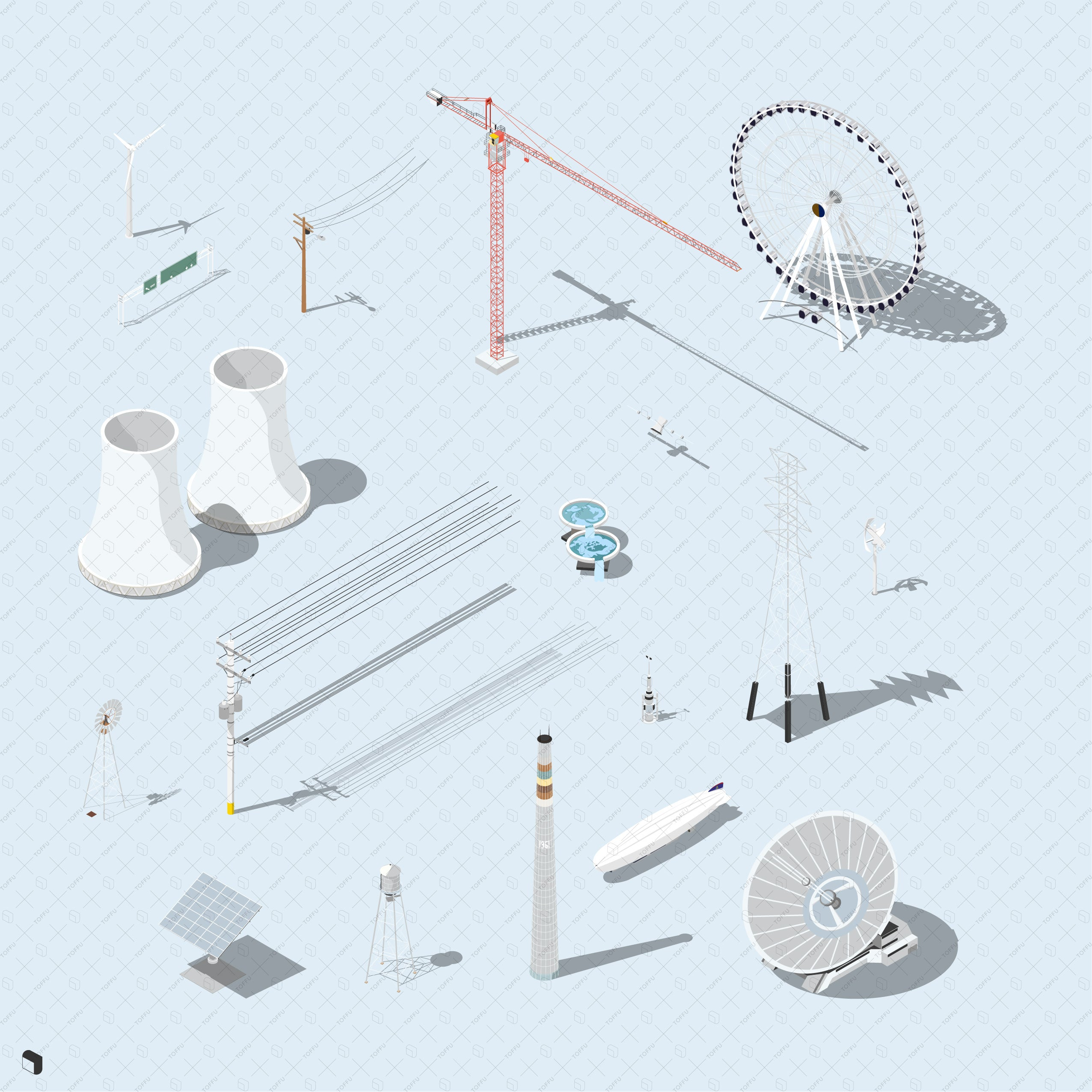 ferris wheel, chimney, satellite axonometric vector drawings