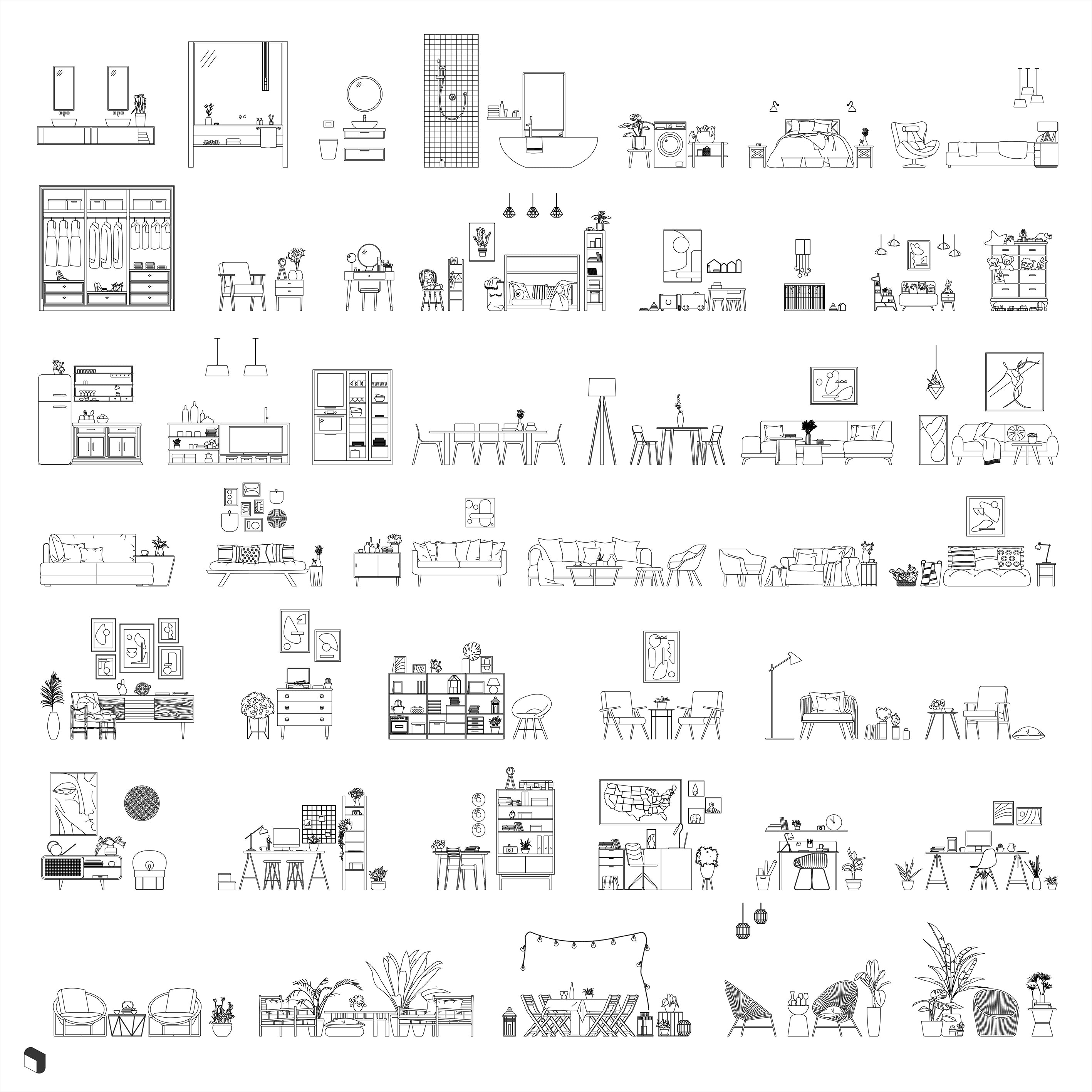 Cad Complete Interior Furniture Set DWG | Toffu Co