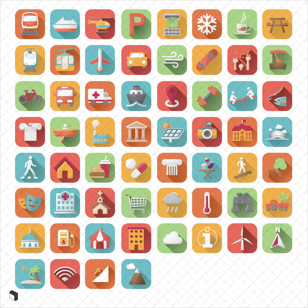 architecture site analysis flat icons