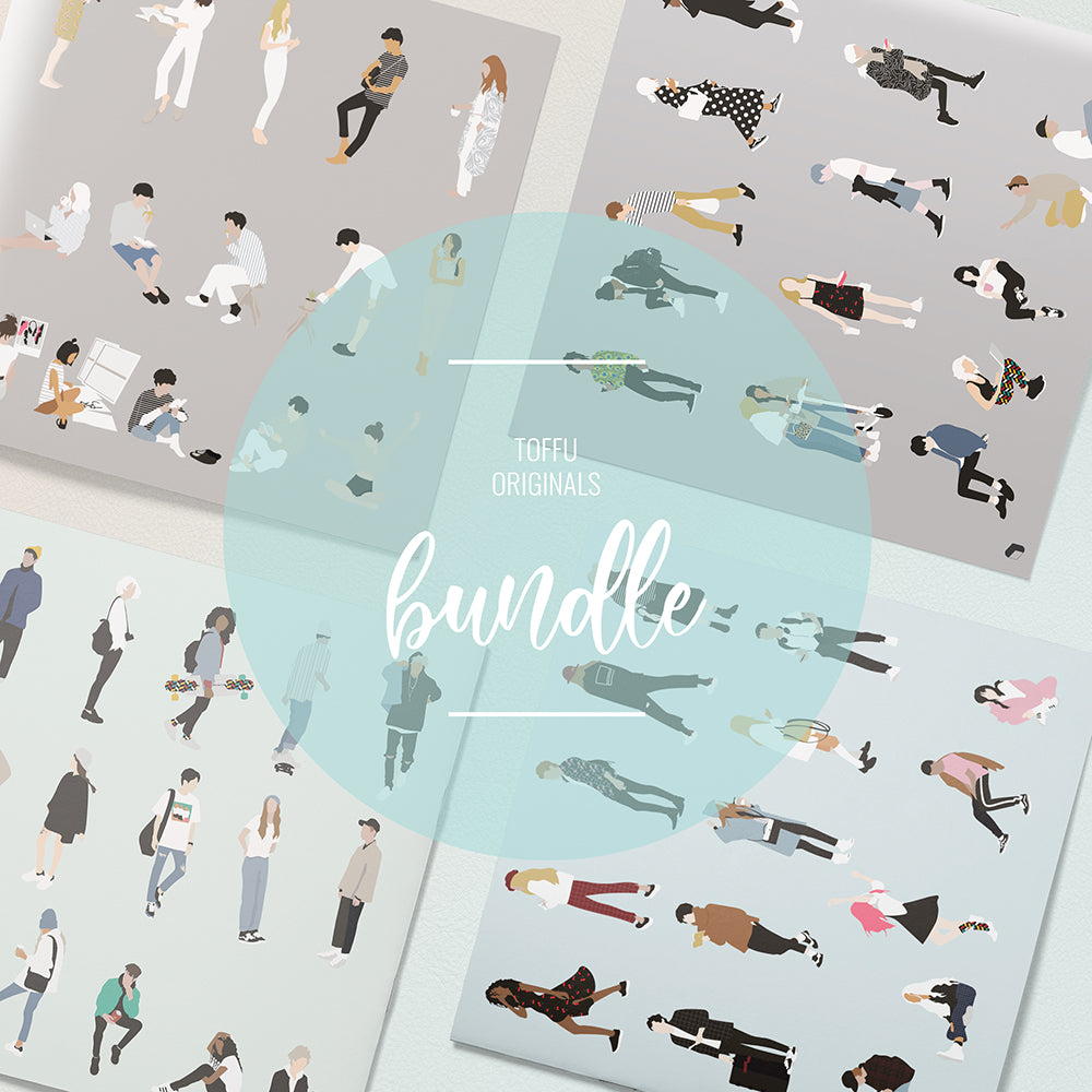 Flat Vector People 9-16 Bundle