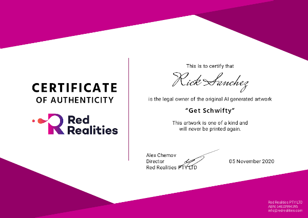 Authenticity Certificate issued to Rick Sanchez