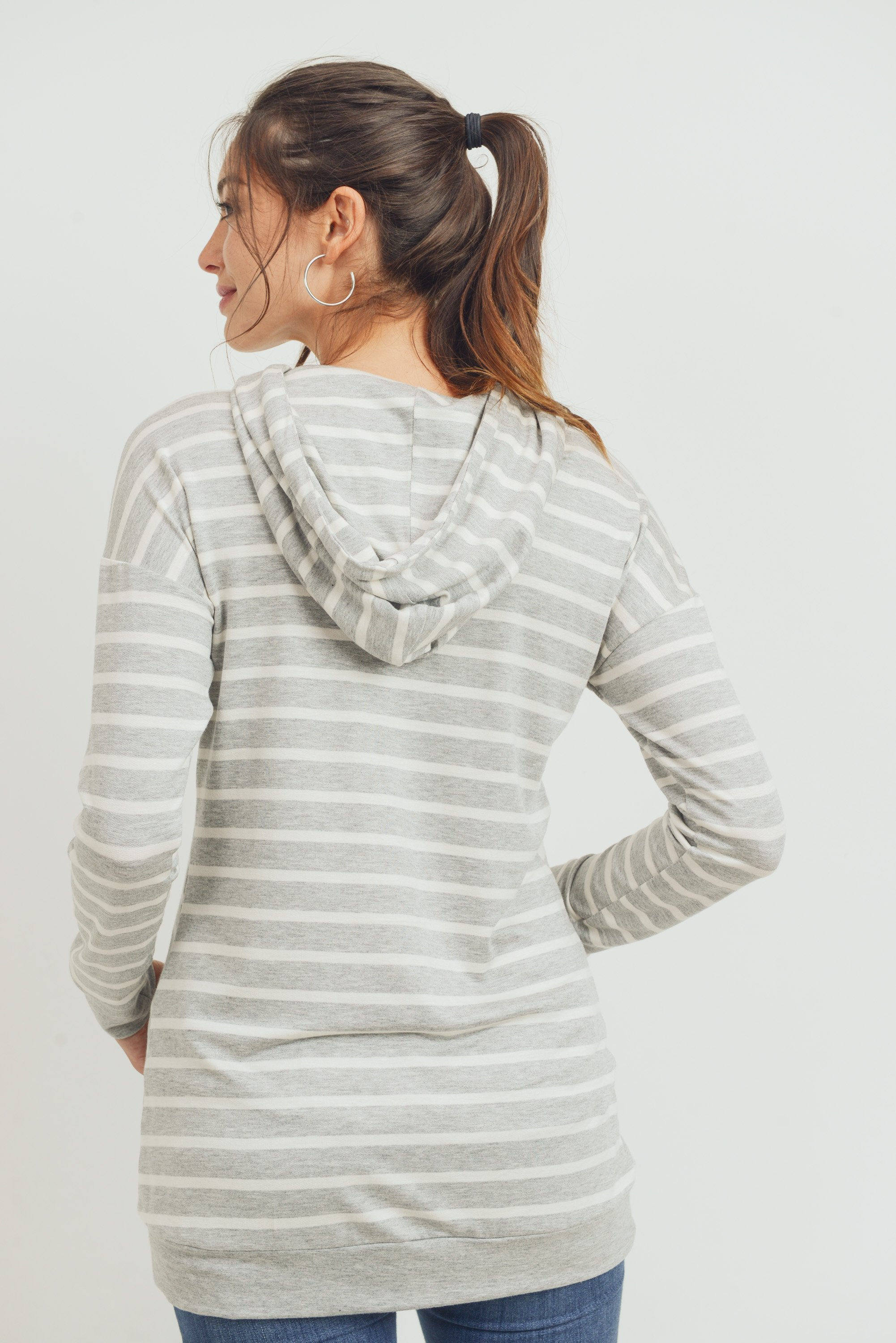 French Terry Striped Maternity Nursing Hoodie- Grey/ Ivory