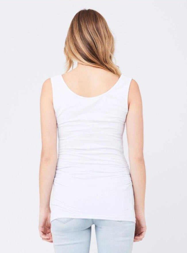 Scoop Neck Tube Tank - WHITE