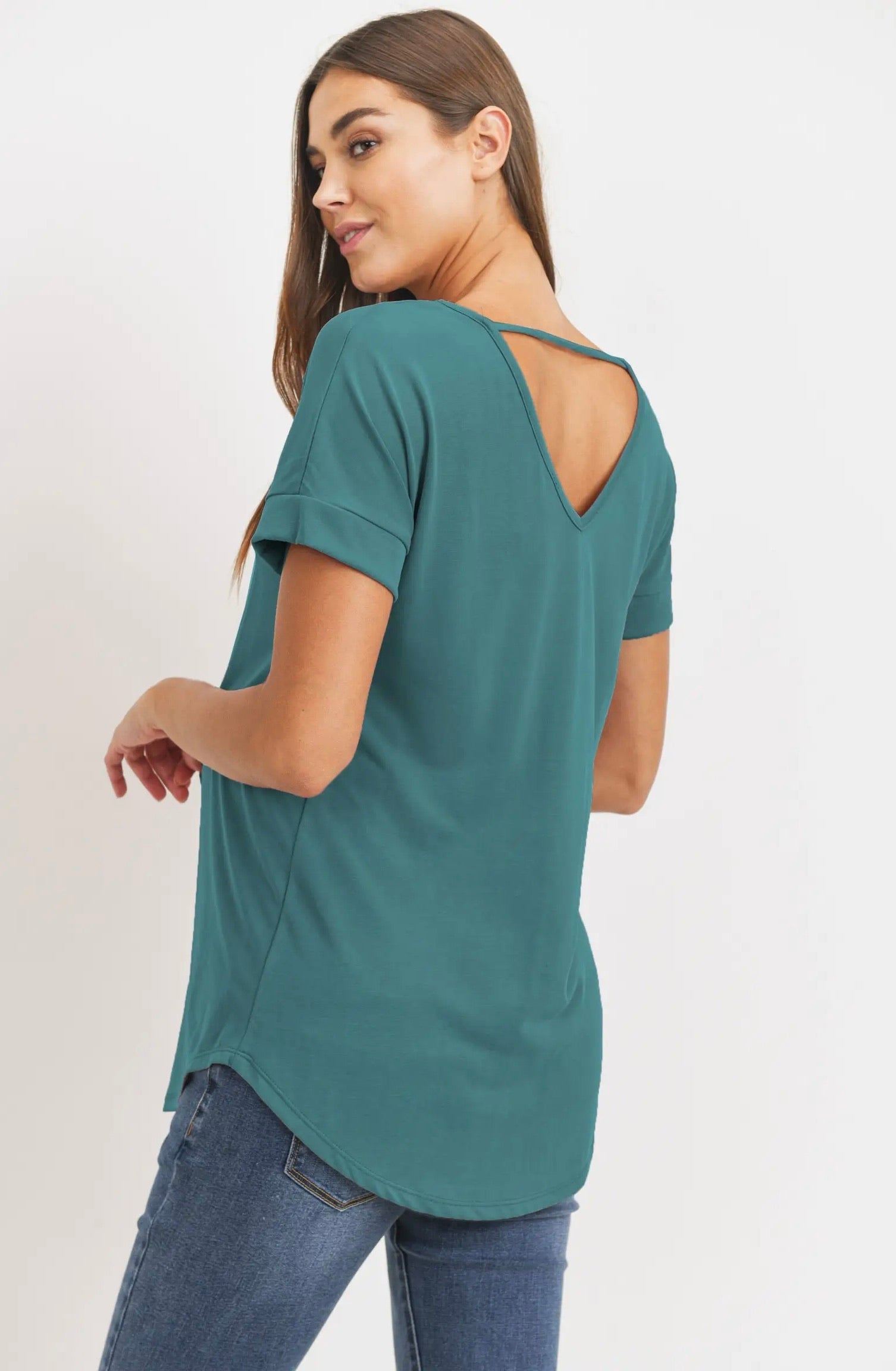 Drop Shoulder Maternity Top - Teal