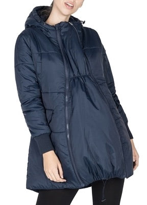"FAITH - 3-IN-1 MID-THIGH MATERNITY ""BOMBER"" COAT - BLACK"
