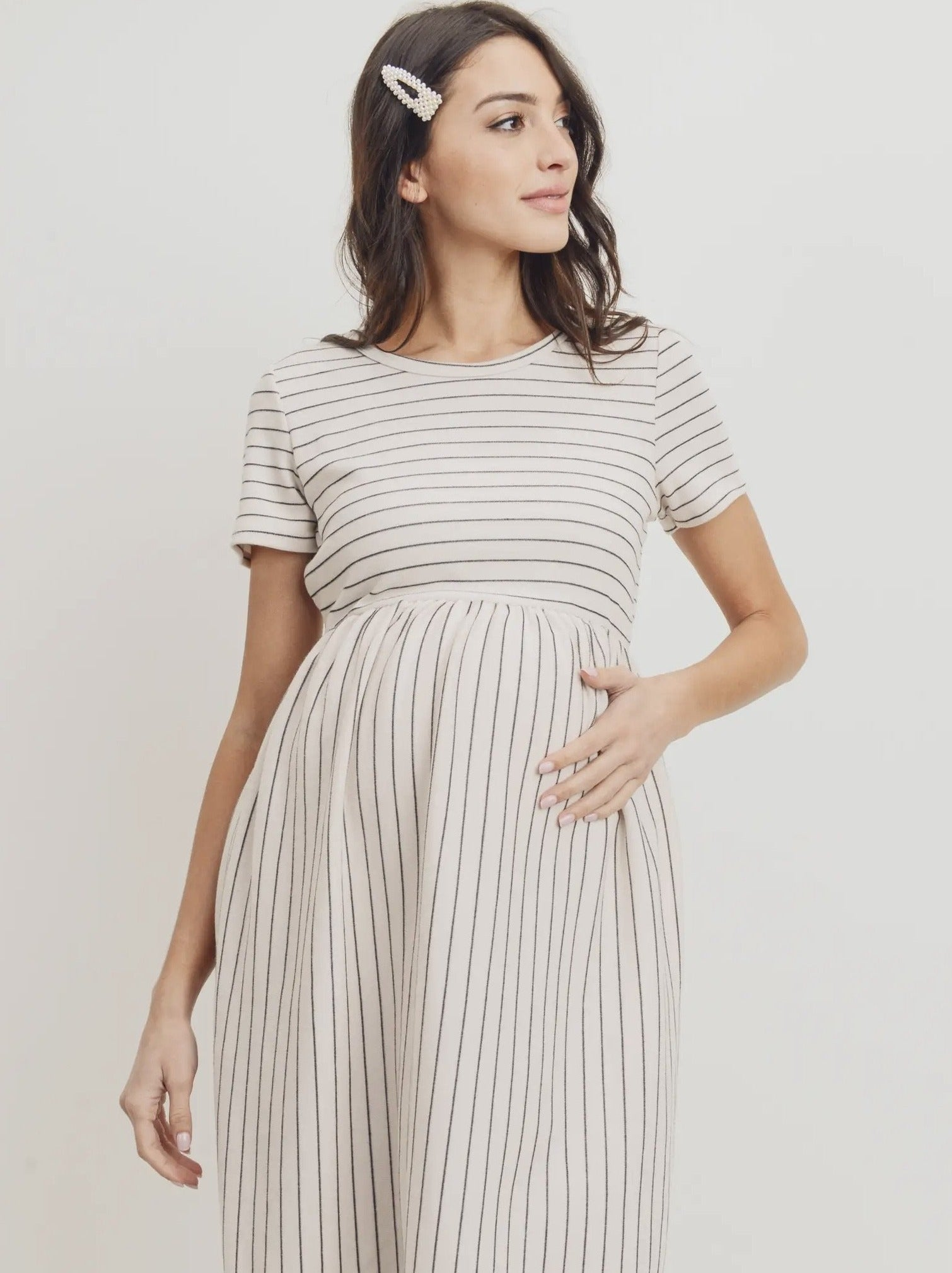Short Sleeve Pocket Dress - Cream