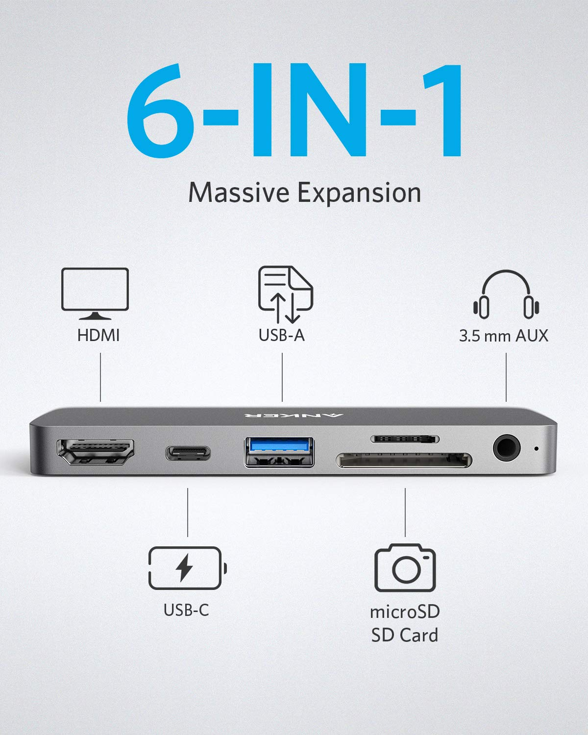 PowerExpand Direct 6-in-1 USB-C PD Media Hub