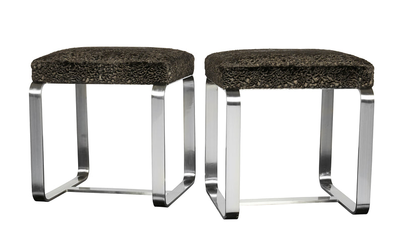 Pair of Faux Fur Metal Stools