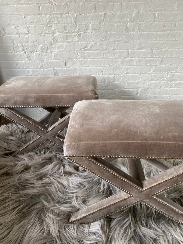 Pair Velvet Nailhead Benches