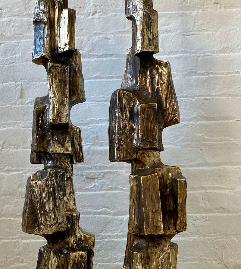 Bronze Brutalist Lamps, pair