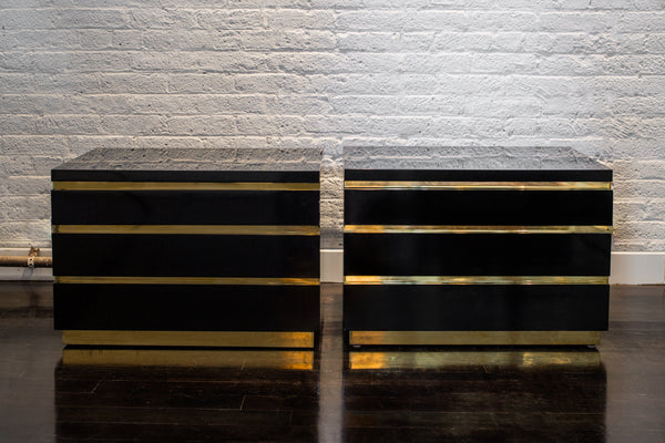 Pair of Black Lacquer and Brass Chests