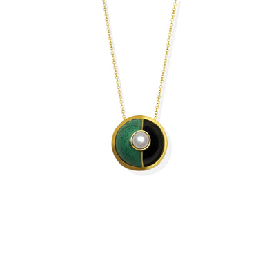 Hand crafted, black enamel and natural Malachite gold necklace, embellished with a Mother of a Pearl on top