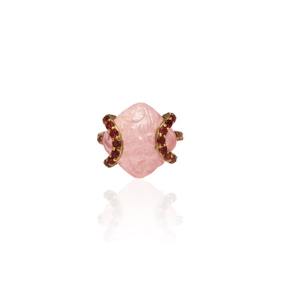 Hand carved delicate Rose Quartz ring in gold, with Tourmaline detailing on top and sides of ring.