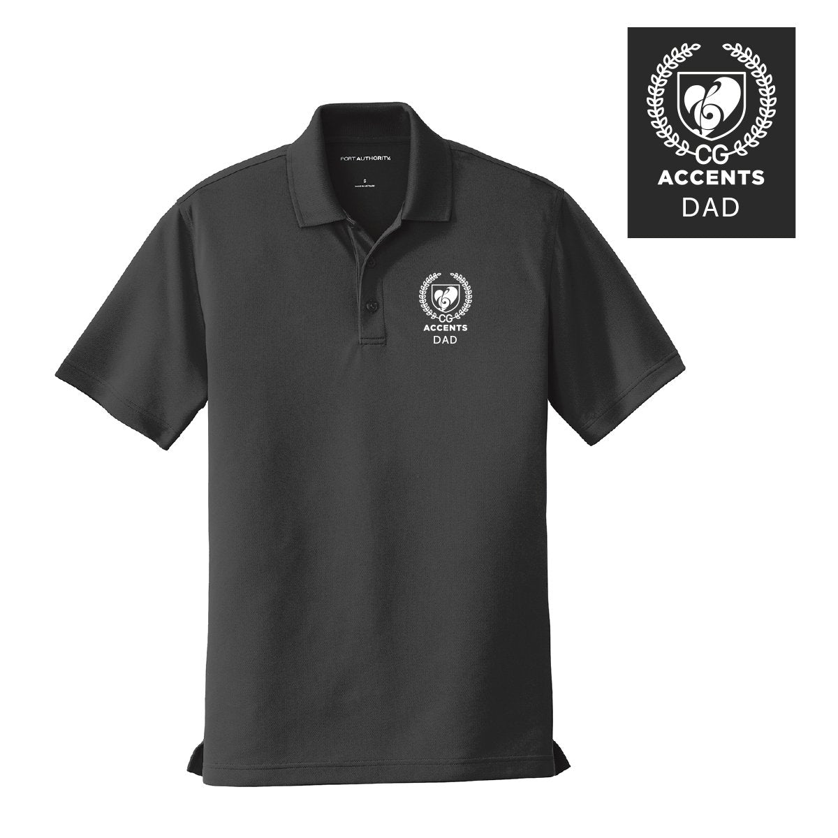 Accents Personalized Black Crest Polo
