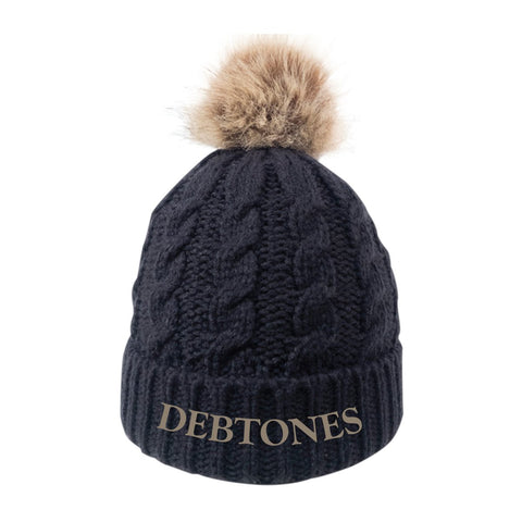 Debtones Black Fur Pom Beanie