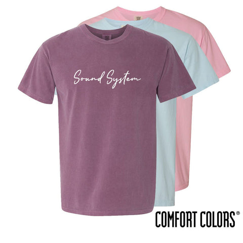 Sound System Comfort Colors Simple Script Short Sleeve Tee