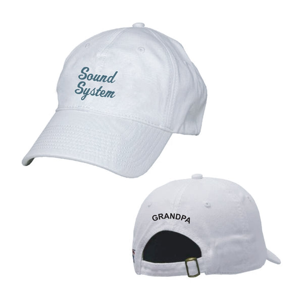Sound System White Ball Cap