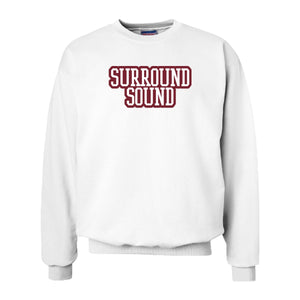 Surround Sound White Sewn On Letter Crewneck